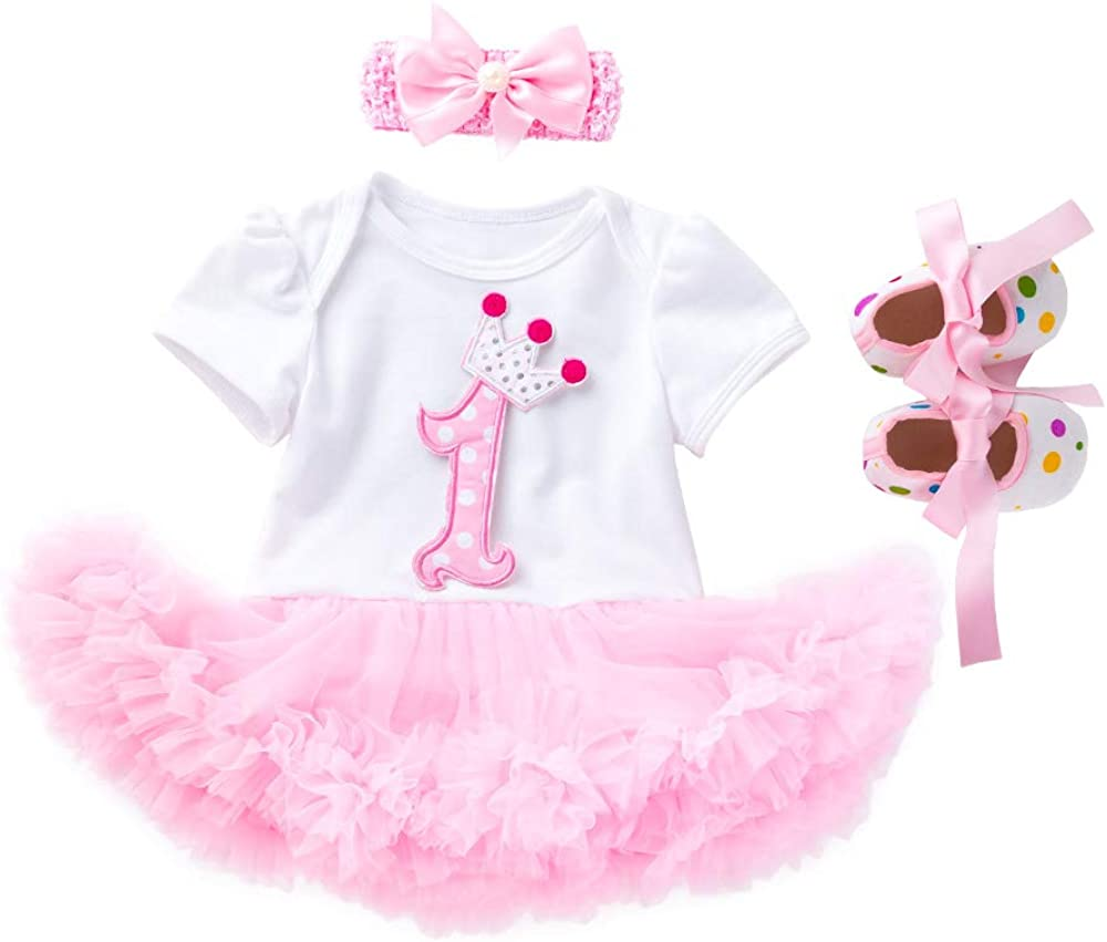 Girl Outfit Infant Dress Romper Tutu Headband Birthday 1st Shoes Party 3pcs Set