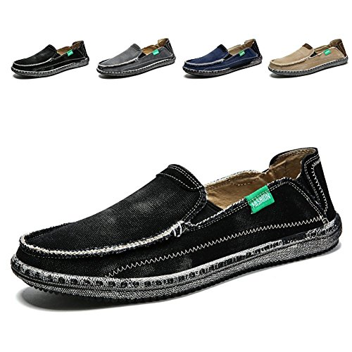 Non Slip Boat Shoes (Men's Slip on Deck Shoes Loafers Canvas Boat Shoe Non Slip Casual Loafer Flat Outdoor Sneakers Walking (Black,10.5))