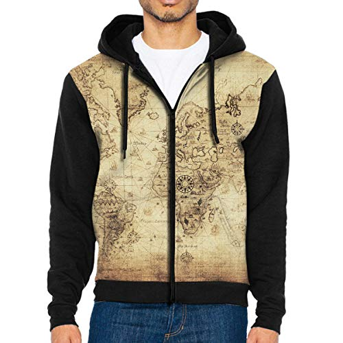 - Man's Casual Garb Hoodies Vintage Retro World Map.jpg Zipper Hooded Men's Long Sleeve