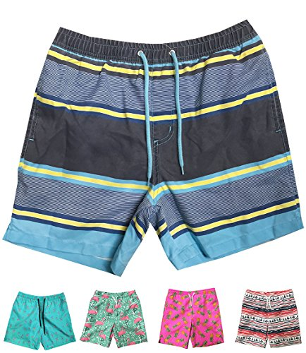 INGEAR Little Boys Quick Dry Beach Board Shorts Swim Trunk Swimsuit Beach Shorts with Mesh Lining (Yellow Stripes, -