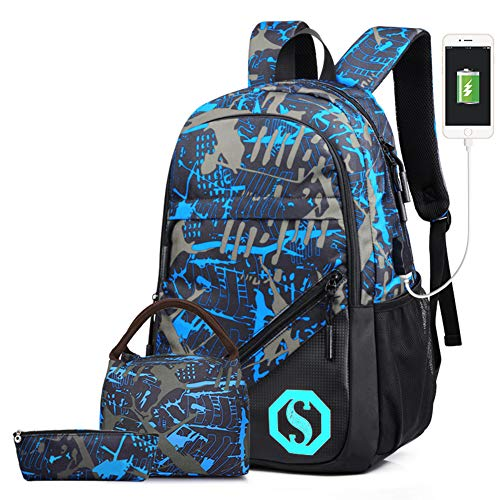 School Backpack for Boys,Lightweight Water Resistant Bookbags Casual Daypack Travel Laptop Backpack with USB Charging Port, Lunch Box and Pencil Case