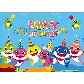 Amazon Com Gya 7x5ft Baby Cute Shark Happy Birthday Theme Backdrop