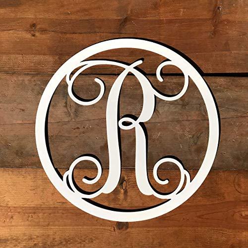 Round Metal Monogram Letter Door Hanger -