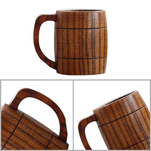 Justdolife 5PCS Wood Mug Beer Cup Handmade Natural Wooden Water Cup for Wine Coffee Tea by Justdolife (Image #2)
