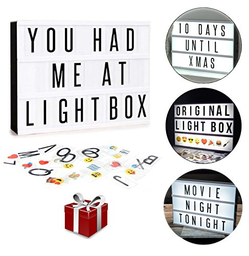 Cinematic LED Light Box Sign | 265 Tiles All in One Kit Including Letters, Emoji & Numbers | USB or Battery Powered | Gift Wrap - Sign Christmas Words