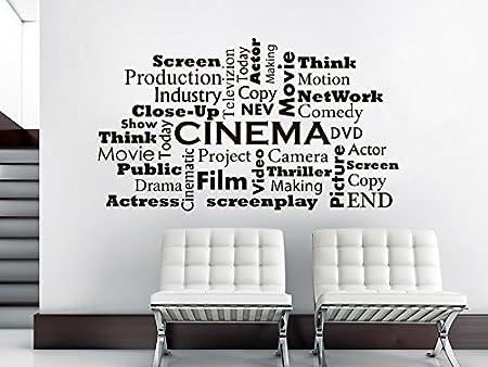 Wall decal cinema vinyl sticker decals movie room cinema film words interior home decor art bedroom