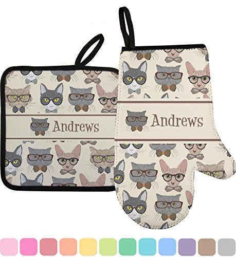 RNK Shops Hipster Cats Oven Mitt & Pot Holder (Personalized) by RNK Shops