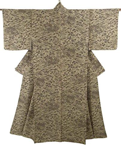 リサイクル 着物 小紋  流水に四季花文様 正絹 袷 裄63.5cm 身丈152cm