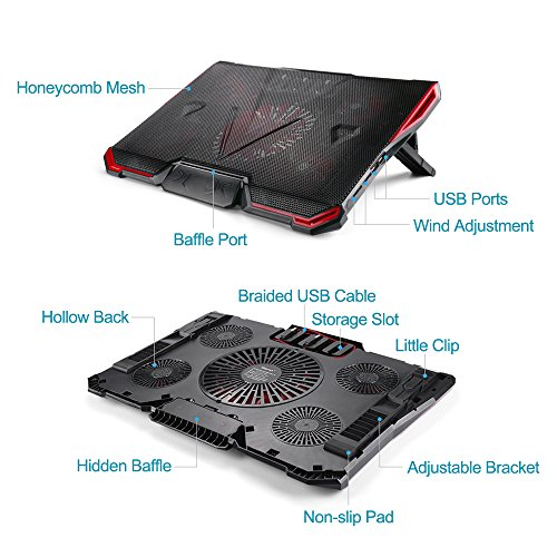 ElementDigital Laptop Cooler Cooling Pad Radiator Ultra Quiet Wind Speed Notebook Computer Laptop Cooler with Adjustable Stand Cooling Pad Adjustable Height and Speed for Gamers and Office by ElementDigital (Image #4)