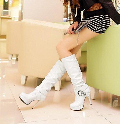 Frühling und Herbst hohen Absätzen Hohe Stiefel Damen Stiefel Weiß