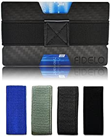 RFID Blocking Slim Carbon Fiber Front Pocket Mens Wallet Money & Card Holder - Minimalist & Small Wallets for Men with Bills Clip Band