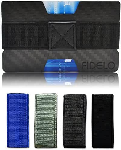 RFID Blocking Slim Carbon Fiber Front Pocket Mens Wallet Money & Card Holder - Minimalist & Small Wallets for Men with Bills Clip Bands
