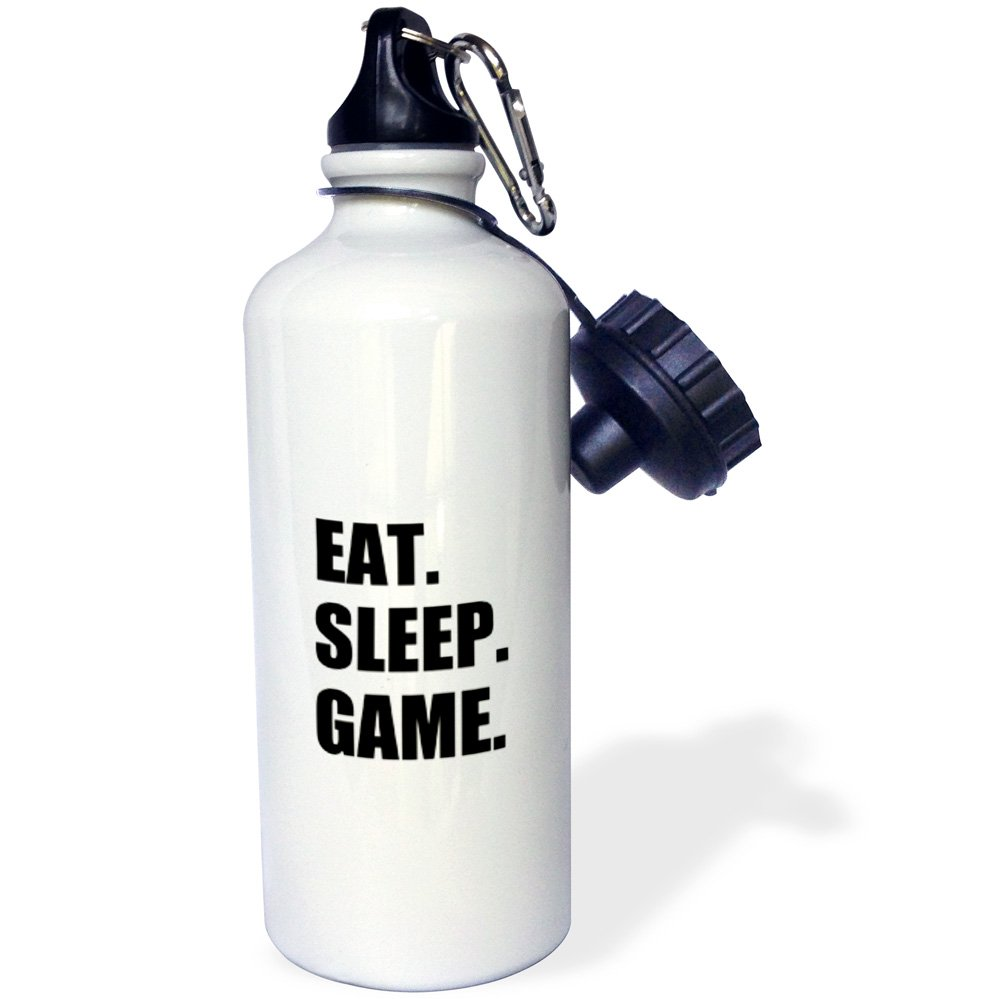 3dRose wb_180406_1 Eat Sleep Game - Fun Gifts For Gamers - Black Text - Video Pro-Gamer Sports Water Bottle, Multicolor, 21 oz