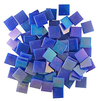 Jennifer's Mosaics 3/4-Inch Iridized Venetian Style Glass Mosaic Tile, Dark Blue, 8-Ounce from Diamond Tech International