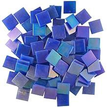 Jennifer's Mosaics 3/4-Inch Iridized Venetian Style Glass Mosaic Tile, Dark Blue, 8-Ounce