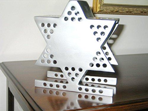 Chanukah Hanukkah Aluminum Cast Menorah Emanuel (Cast Aluminum Hanukkah Menorah)