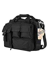"Koolertron Mens Pro- Multifunction Mens Military Outdoor Nylon Shoulder Messenger Bag Handbags Briefcase Large Enough for 14"" Laptop (Black)"