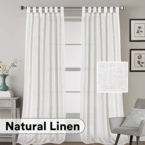 H.VERSAILTEX Natural Effect Extra Long Curtains Made of Linen Mixed Rich Material, Tab Top Curtains Pair Window Curtains/Drape/Panels for Bedroom (Set of 2, 52 by 108 Inch, White) ()