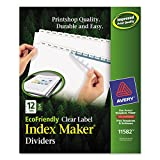 Avery Index Dividers, Print & Apply Clear Label, Index Maker Easy Apply Strip, 12 Printable Tabs, 5 Sets (11582)