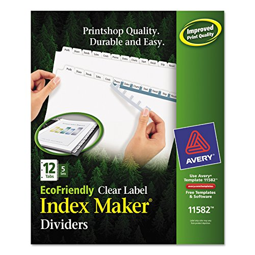 Avery Index Dividers, Print & Apply Clear Label, Index Maker Easy Apply Strip, 12 Printable Tabs, 5 Sets (11582) ()