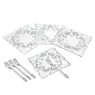Godinger Set of 4 Lead Crystal Dessert Plates with Forks