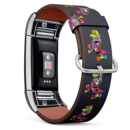 Replacement Leather Strap Printing Wristbands Compatible with Fitbit Charge 2 - Funny Pug Puppy Wearing a Cap and Headphone on Skateboard