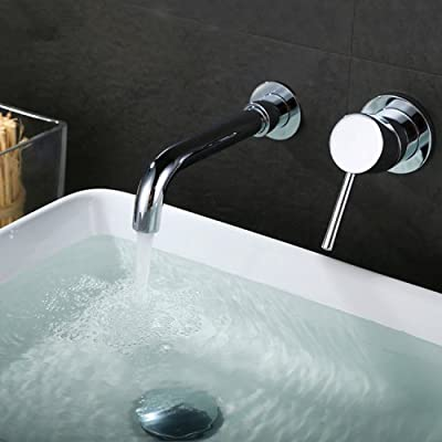LightInTheBox Wall Mounted Single Handle Two Holes in Chrome Bathroom Sink Faucet
