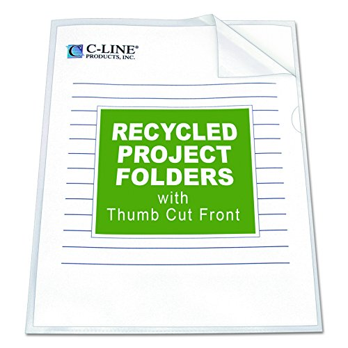 C-Line Recycled Project Folders with Thumb Cut Fronts, Reduced Glare, Letter Size, Clear, 25 per Box (62127) ()