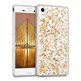 kwmobile Crystal TPU Silicone Case for Sony Xperia M4 Aqua in Design flakes gold transparent