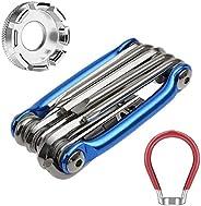 11 in 1 Bike Repair Tools Kits, Foldiable Repair Kit with Chain Splitting Tool Hex and Spoke Wrench Screwdrive