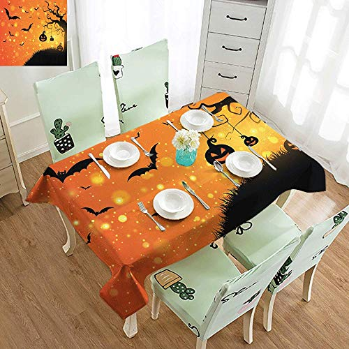 DILITECK Elegance Engineered Tablecloth Halloween Magical Fantastic Evil Night Icons Swirled Branches Haunted Forest Hill Indoor Outdoor Camping Picnic W70 xL84 Orange Yellow Black -