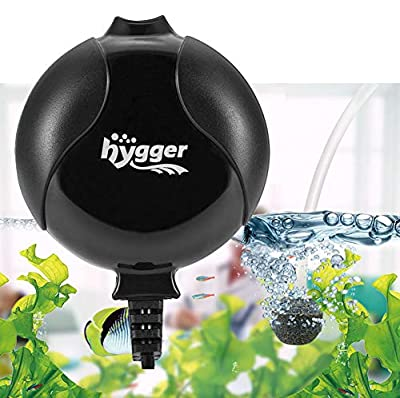 hygger Quiet Aquarium Air Pump 1.5 Watt Energy Saving Mini Oxygen Pump for 1-15 Gallon Fish Tank with Airstone Tube