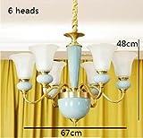 European ceramic copper chandeliers living room bedroom restaurant lights modern simple lamps TA0122PY44 ( Color : 6HEADS )
