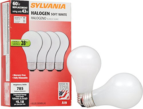 - Sylvania Home Lighting 52204 43W 2900K A19 Halogen Bulb with Medium Base and Soft White Finish (4 Pack), 4 Piece