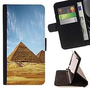 - Architecture Ancient Pyramids Giza - - Prima caja de la PU billetera de cuero con ranuras para tarjetas, efectivo desmontable correa para l Funny HouseFOR Sony Xperia Z1 Compact D5503