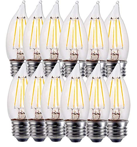 E26 LED Candelabra Bulb 60W Equivalent Dimmable LED Chandelier Light Bulbs 4.5W 450LM Flame Tip Candelabra LED Bulbs UL Listed,3 Year Warranty,2700K (Warm ()