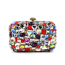 Multi Colored Stone Embedded Luxury Clutch