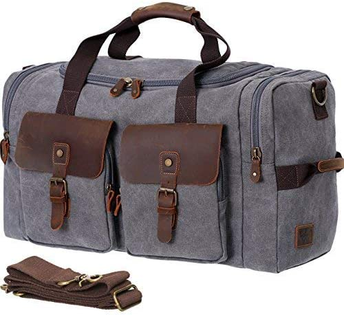 WOWBOX Duffel Bag Canvas Genuine Leather Weekend Bag for Men and Women Oversized Travel Gym Carry On Bag Tote Luggage Grey