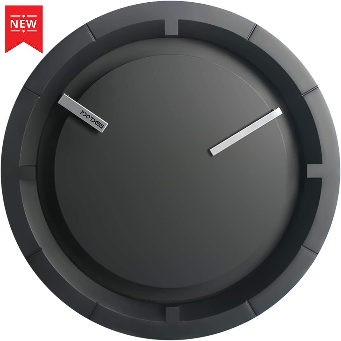 MIDCLOCK Wall Clock, New Modern Black Analog Clock, Silent Non-Ticking – 12 Inch Quality Quartz Battery Operated Round, Decorative Clock for Living Room Bedroom Office Home School Gift Clock Black