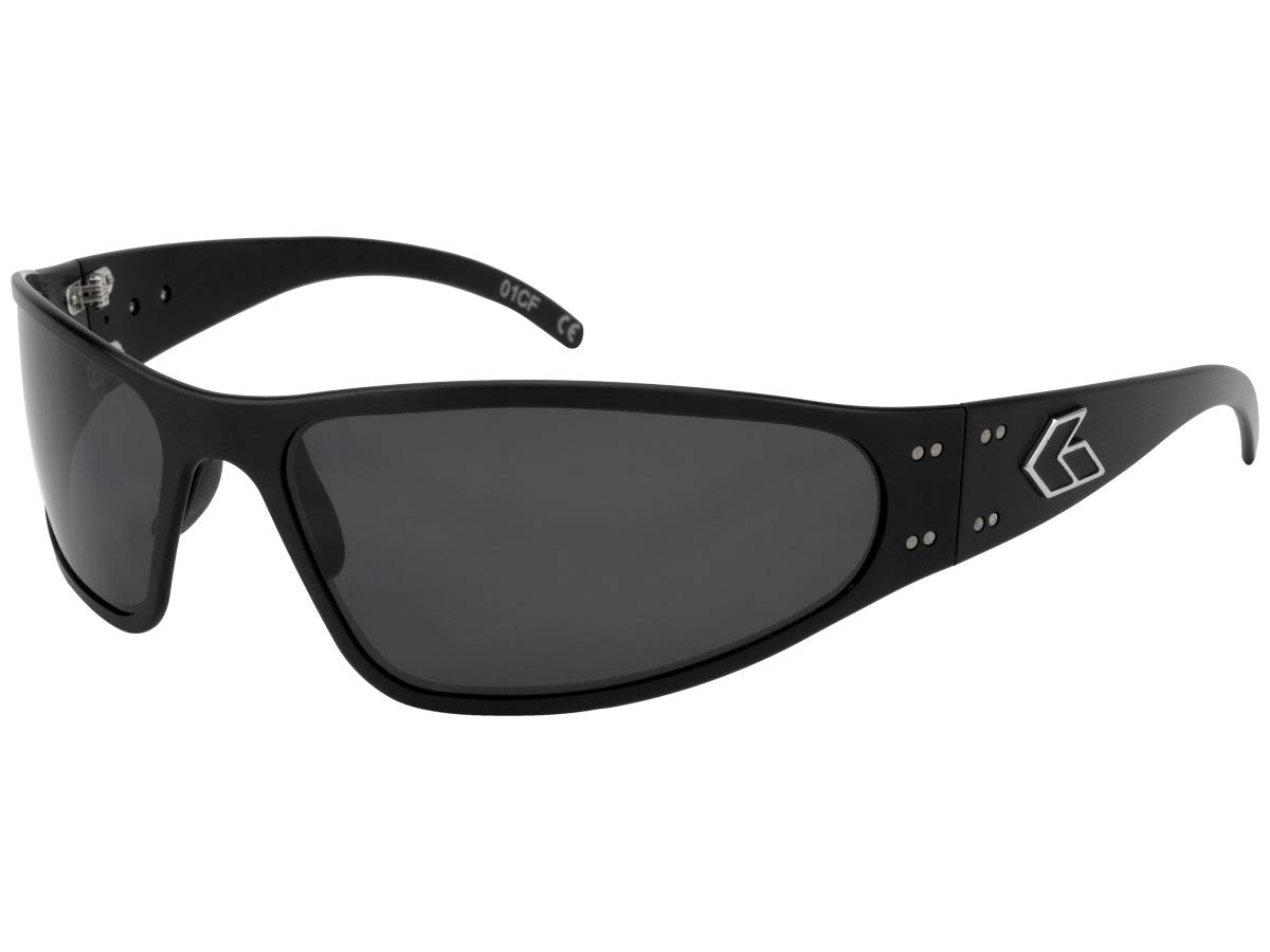 Gatorz Eyewear, Wraptor Model, Aluminum Frame Sunglasses - Black/Smoked Polarized Lens by Gatorz