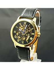 Black Leather Strap Automatic Skeleton Mechanical Mens Watch