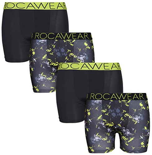 Rocawear Boy's 4 Pack Performance Boxer Brief, Lime and Black, Medium/10-12'