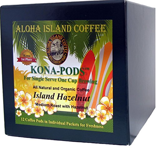 (Hazelnut Flavored Senseo Pods From Our Chefs Tasting Collection of Kona Hawaiian Coffee Pods, 12 Pods. Reusable Pod Adapter is Available for Eco-Friendly K-cup Brewing Systems)