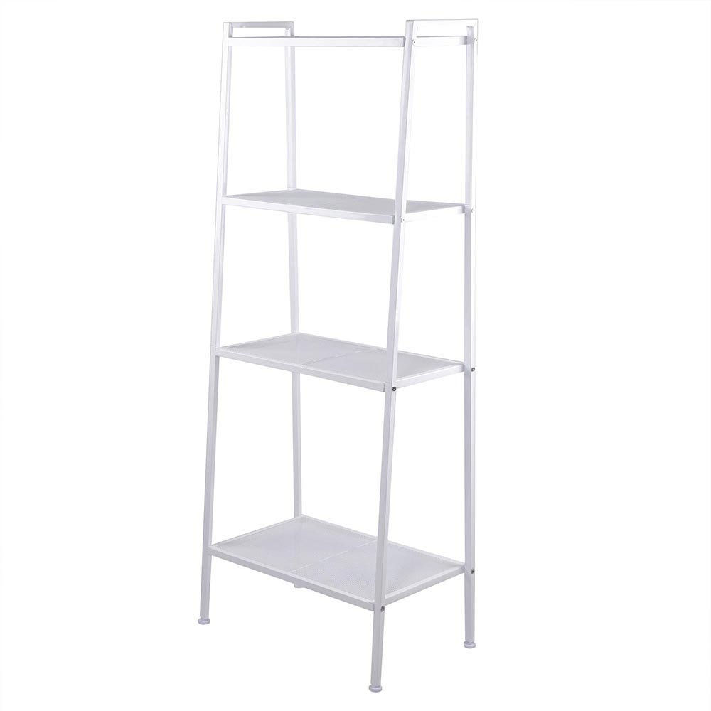 Azadx Ladder Shelf Bookcase, 4-Tier Multipurpose Iron Widen Ladder Bookshelf Plant Storage Organizer Rack, Shelf Display Rack for Home or Office Use (Ivory White) by Azadx