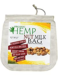 Investment 100% Natural Organic Hemp Nut Milk Bag, Extra Wide Mouth Fits Over Vitamix, 12X12, No Chemicals or Toxins, Reusable occupation