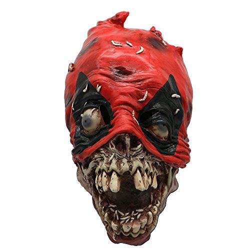 Halloween Mask Scary Skeleton Horror Zombie Costume Latex Mask Red
