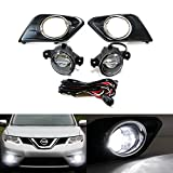 iJDMTOY® 15W High Power CREE XB-E LED Projector Fog Lights Kit with Garnish Bezels & Wiring Harness For 2014-up Nissan Rogue (X-Trail)