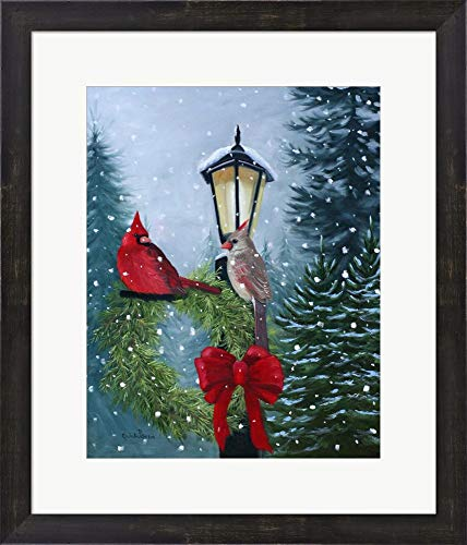 - Cardinals and Lamppost by Julie Peterson Framed Art Print Wall Picture, Espresso Brown Frame, 19 x 22 inches
