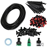 82Ft 1/4Inch Blank Distribution Tubing Irrigation DIY Saving Water Automatic Equipment Set Atomizing Nozzle Dripper For Garden Greenhouse, Flower Bed,Patio,Lawn