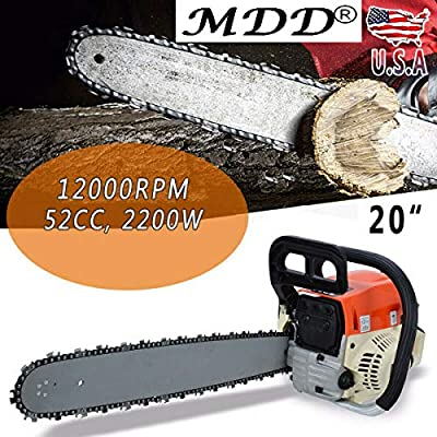 "Morocca New 20"" 52cc Bar Gas Chainsaw Chain Saw Engine with Aluminum Crankcase Gasoline"